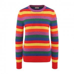 Хлопковый пуловер Moncler. Цвет: разноцветный