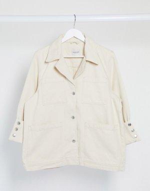 Белая джинсовая oversized-куртка с карманами Femme-Кремовый Selected