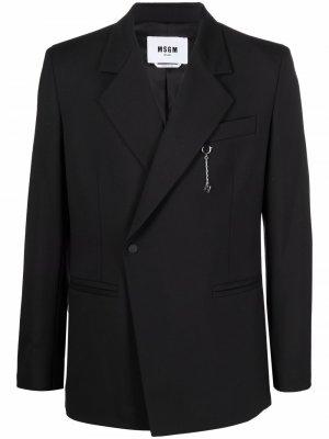 Однобортный шерстяной пиджак MSGM. Цвет: черный