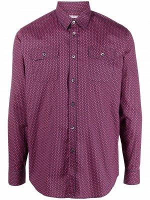 Рубашка с накладными карманами и цветочным принтом Daniele Alessandrini. Цвет: красный