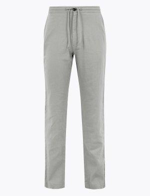 Классические льняные брюки M&S Collection. Цвет: серый