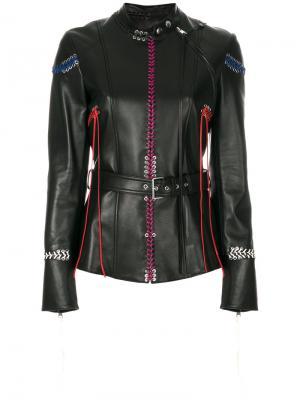 Кожаная куртка с декоративной прошивкой Alexander McQueen. Цвет: чёрный