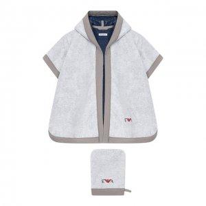 Комплект из хлопкового халата и рукавицы Emporio Armani. Цвет: серый