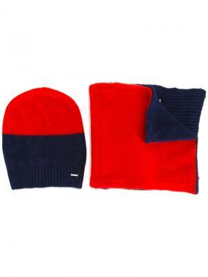 Набор из шарфа и шапки-бини дизайна колор-блок Diesel. Цвет: синий