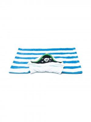 Полосатое полотенце с принтом Stella McCartney Kids. Цвет: синий
