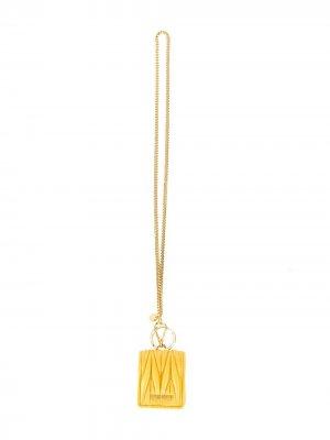 Стеганый футляр для AirPods с цепочкой Miu. Цвет: желтый