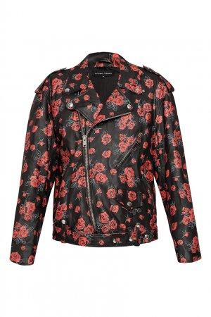Куртка-косуха с розами Alexander Terekhov. Цвет: черный