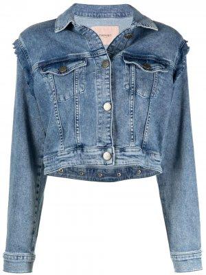 Джинсовая куртка с оборками TWINSET. Цвет: синий