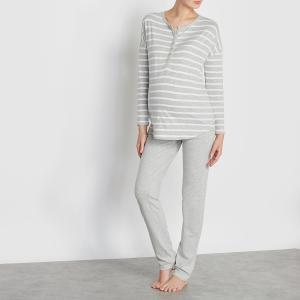 Пижама для беременных и кормящих грудью LA REDOUTE MATERNITÉ. Цвет: серый в полоску,синий/ в полоску