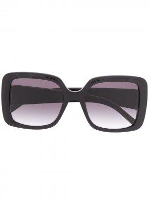 Массивные солнцезащитные очки с логотипом Elie Saab. Цвет: черный
