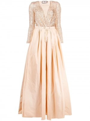 Платье-двойка с пайетками Elisabetta Franchi. Цвет: нейтральные цвета