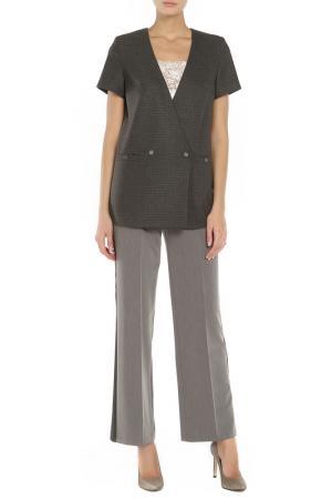 Костюм: жакет, брюки, топ Adzhedo. Цвет: коричневый