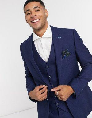 Приталенный пиджак -Темно-синий Harry Brown