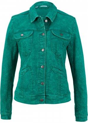 Куртка из эластичного денима bonprix. Цвет: зеленый