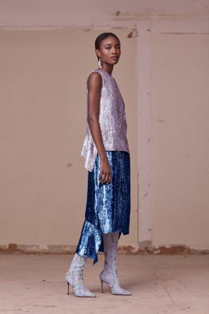Шелковая юбка в пайетках Altuzarra. Цвет: синий