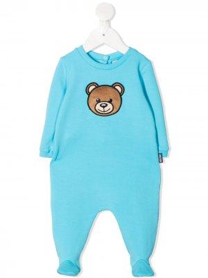 Пижама с нашивкой Teddy Bear Moschino Kids. Цвет: синий