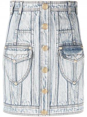 Джинсовая юбка с завышенной талией Balmain. Цвет: синий
