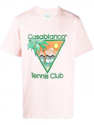 Футболка Tennis Club с логотипом Casablanca. Цвет: розовый