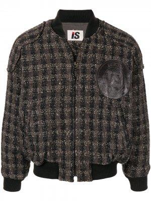 Куртка-бомбер 1980-х годов в клетку Issey Miyake Pre-Owned. Цвет: черный