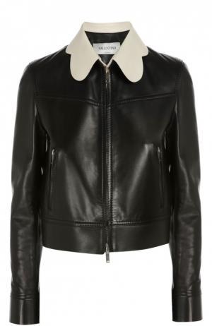 Кожаная куртка прямого кроя с контрастным воротником Valentino. Цвет: черный