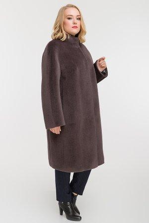 Длинное прямое пальто из альпака на большой размер Leoni Bourget. Цвет: графит