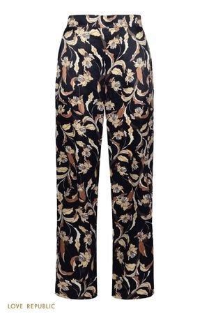 Домашние брюки из нежной атласной ткани с принтом LOVE REPUBLIC