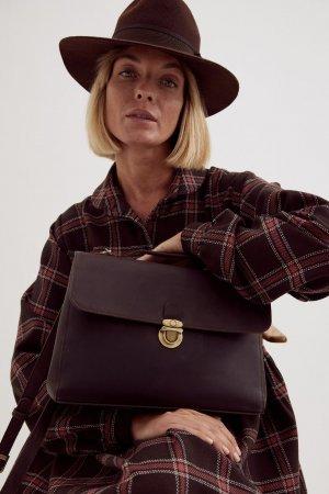 Сумка-портфель с подкладкой Unique Fabric. Цвет: шоколадный