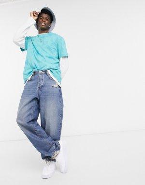 Темно-выбеленные синие широкие джинсы с рваной отделкой -Синий ASOS DESIGN