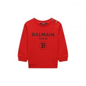 Хлопковый свитшот Balmain. Цвет: красный