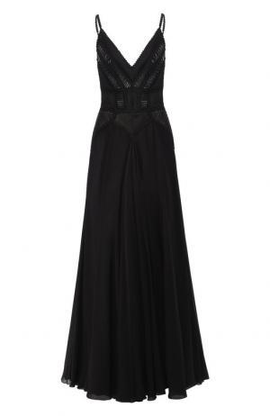 Шелковое платье-макси Elie Saab. Цвет: чёрный