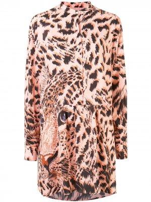 Платье-рубашка с графичным принтом MSGM. Цвет: розовый