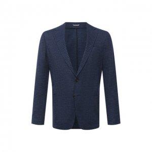 Пиджак из хлопка и шерсти Canali. Цвет: синий