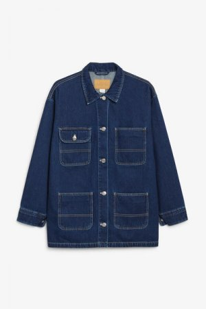 Практичная джинсовая куртка Monki. Цвет: синий, разноцветный