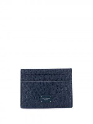 Картхолдер с нашивкой-логотипом Dolce & Gabbana. Цвет: синий