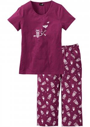 Пижама с брюками капри bonprix. Цвет: лиловый