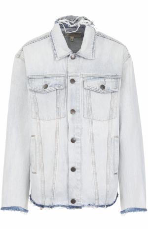 Джинсовая куртка с потертостями Current/Elliott. Цвет: голубой