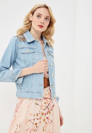 Куртка джинсовая Twinset Milano. Цвет: голубой