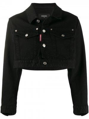 Укороченная джинсовая куртка Icon Dsquared2. Цвет: черный