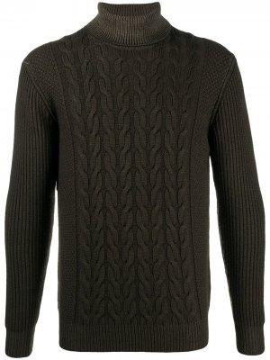 Джемпер фактурной вязки с высоким воротником Altea. Цвет: зеленый