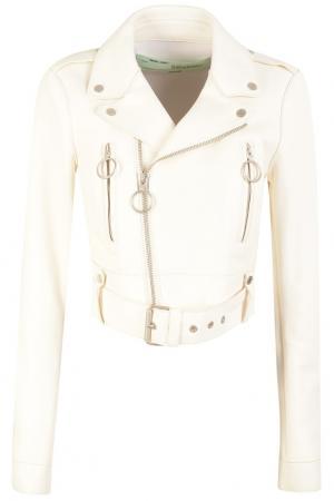 Белая кожаная куртка Off-white. Цвет: белый