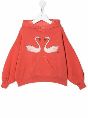 Swan-print hoodie The Animals Observatory. Цвет: красный