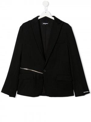 Пиджак строгого кроя с молнией Dsquared2 Kids. Цвет: черный
