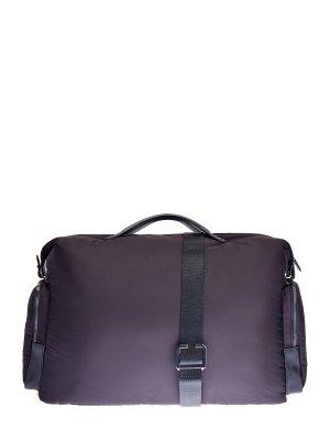 Вместительная дорожная сумка из влагозащитного нейлона CANALI. Цвет: черный