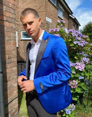 Кобальтово-синий приталенный пиджак-смокинг Twisted Tailor