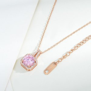 Ожерелье Позолоченный с цирконом геометрическим декором SHEIN. Цвет: розовое золото