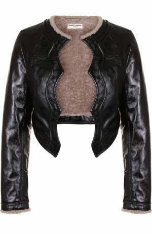 Кожаная куртка с подкладкой из овчины Saint Laurent. Цвет: черный