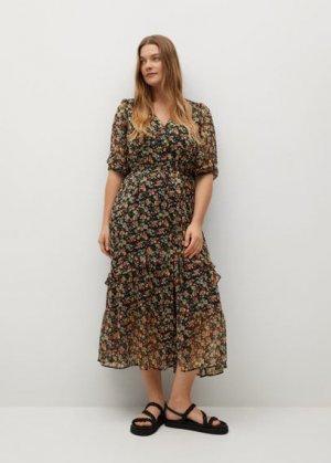 Длинное платье с принтом - Garden Mango. Цвет: черный