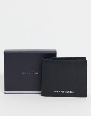 Черный кожаный мини-кошелек с карманами для монет и карт логотипом Tommy Hilfiger