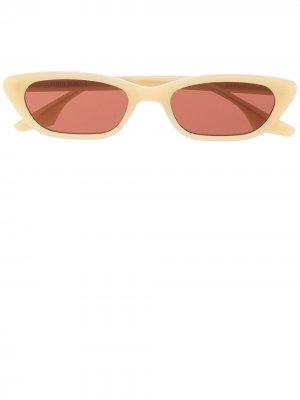 Солнцезащитные очки в прямоугольной оправе Gentle Monster. Цвет: желтый