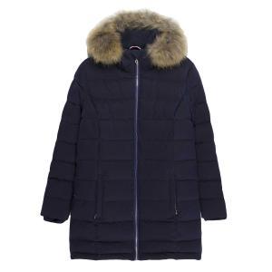 Куртка стеганая с капюшоном, средней длины, приталенная LE TEMPS DES CERISES. Цвет: темно-синий